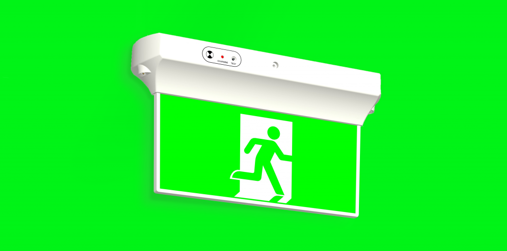 Exit Sign on Green Background
