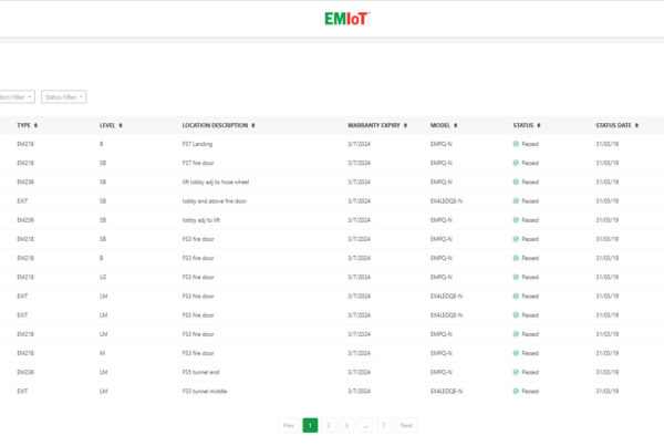 EMIoT Dashboard Device List Screenshot